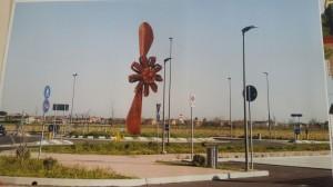 Rendering di una scultura alta 9 mt raffigurante elica